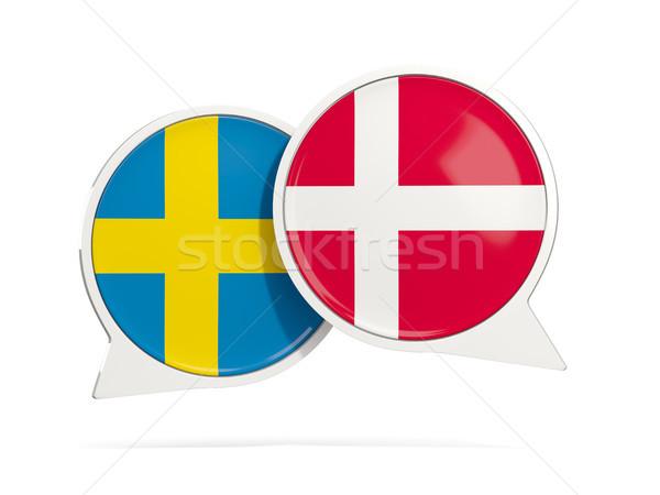 チャット 泡 スウェーデン デンマーク 孤立した 白 ストックフォト © MikhailMishchenko
