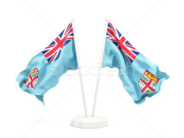 Due bandiere Fiji isolato bianco Foto d'archivio © MikhailMishchenko