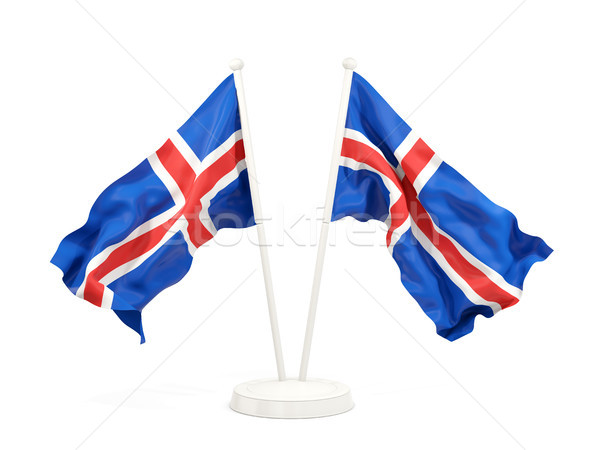 Two waving flags of iceland Stock photo © MikhailMishchenko