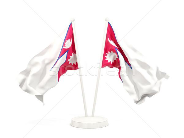 два флагами Непал изолированный белый Сток-фото © MikhailMishchenko