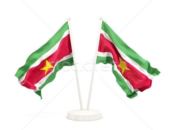два флагами Суринам изолированный белый Сток-фото © MikhailMishchenko