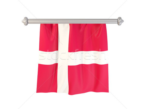 Vlag Denemarken geïsoleerd witte 3d illustration label Stockfoto © MikhailMishchenko