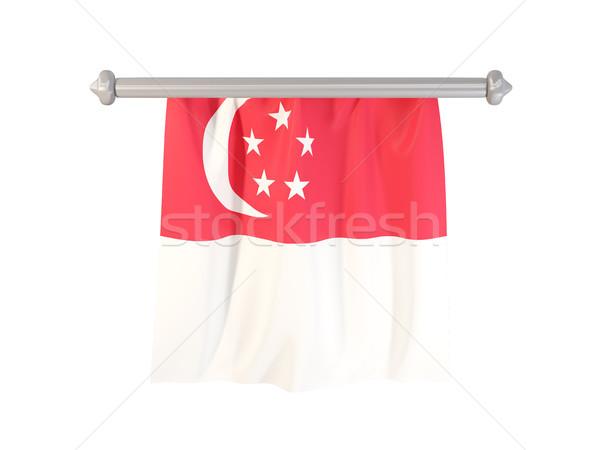 Vlag Singapore geïsoleerd witte 3d illustration label Stockfoto © MikhailMishchenko