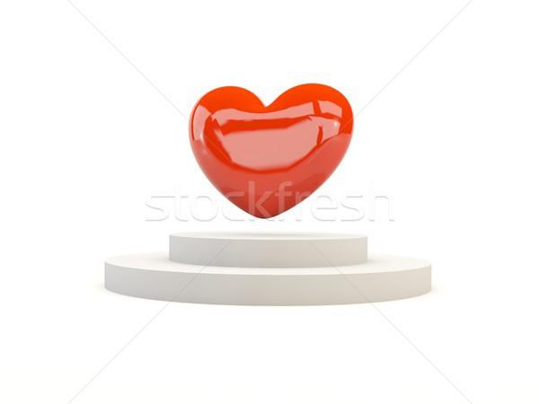 красный сердцах подиум изолированный белый 3d иллюстрации Сток-фото © MikhailMishchenko