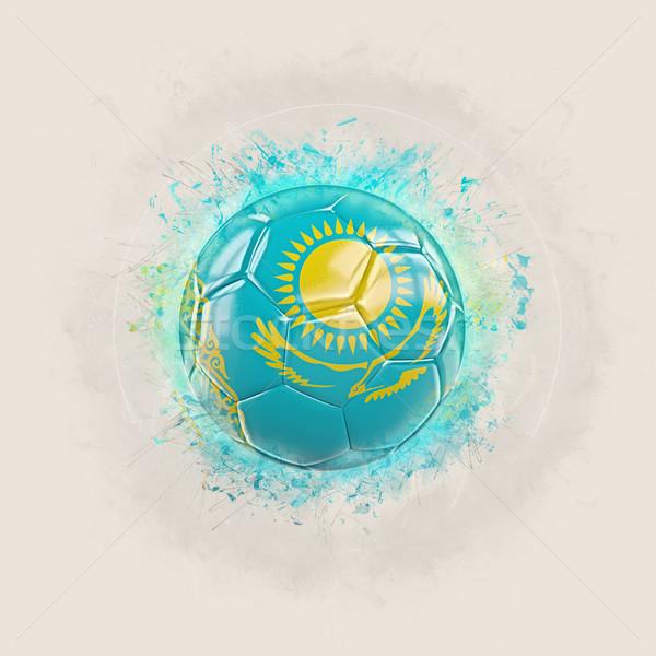 Grunge futebol bandeira Cazaquistão ilustração 3d mundo Foto stock © MikhailMishchenko
