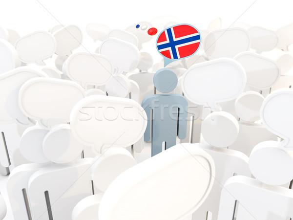 Człowiek banderą Norwegia tłum 3d ilustracji podpisania Zdjęcia stock © MikhailMishchenko