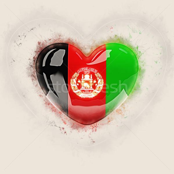 Kalp bayrak Afganistan grunge 3d illustration ülke Stok fotoğraf © MikhailMishchenko