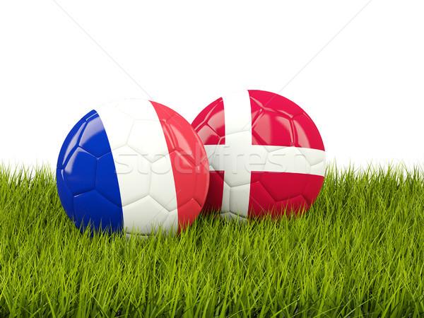 França vs Dinamarca futebol bandeiras verde Foto stock © MikhailMishchenko