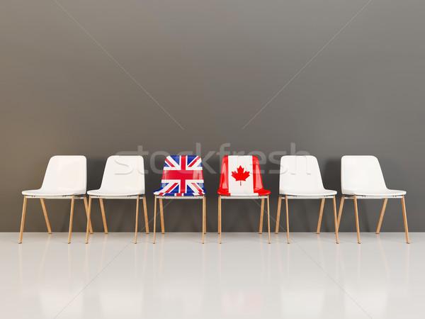 Sandalye bayrak Büyük Britanya Kanada 3d illustration Stok fotoğraf © MikhailMishchenko