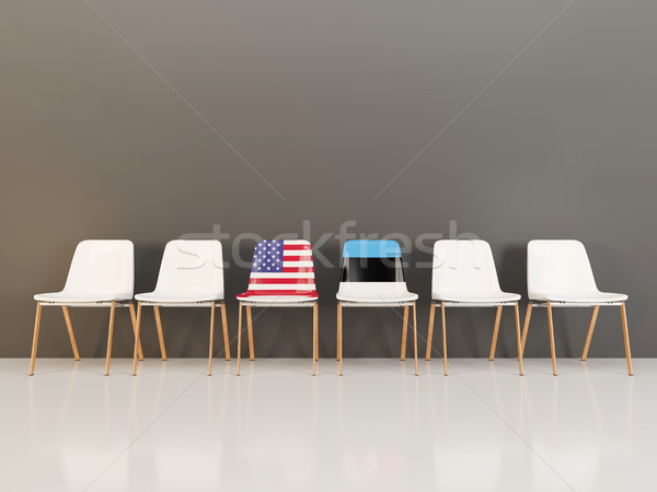 Chairs with flag of usa and estonia Stock photo © MikhailMishchenko