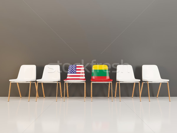 Chairs with flag of usa and lithuania Stock photo © MikhailMishchenko
