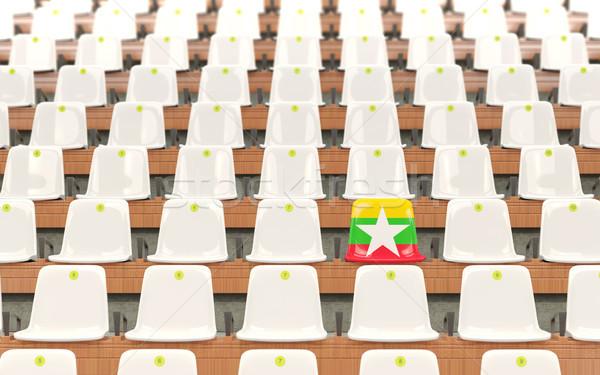 стадион сиденье флаг Мьянма белый Сток-фото © MikhailMishchenko
