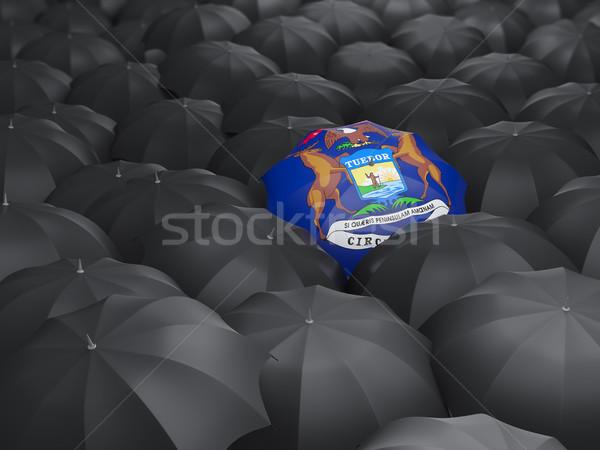 Michigan zászló esernyő Egyesült Államok helyi zászlók Stock fotó © MikhailMishchenko