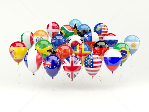 Air balloons with flags isolated on white Stock photo © MikhailMishchenko