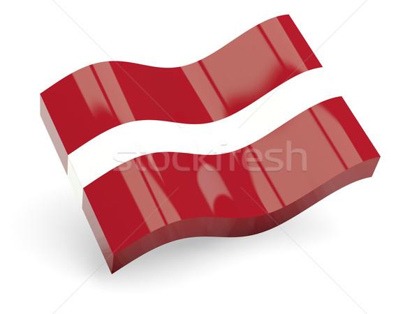 3D bayrak Letonya yalıtılmış beyaz dalga Stok fotoğraf © MikhailMishchenko