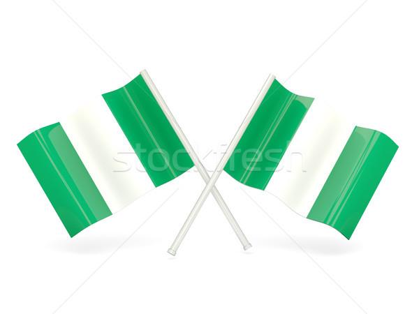 Bandeira Nigéria onda pin bandeira Hong Kong Foto stock © MikhailMishchenko