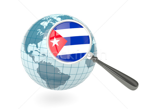 Magnified flag of cuba with blue globe Stock photo © MikhailMishchenko