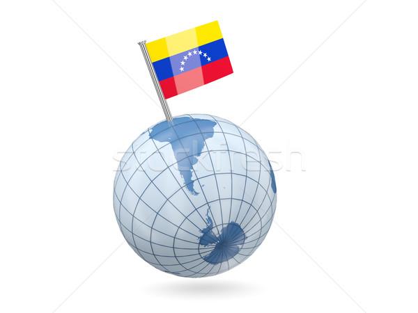 Földgömb zászló Venezuela kék izolált fehér Stock fotó © MikhailMishchenko