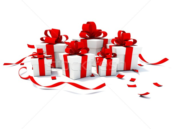 Presents with red ribbons Stock photo © MikhailMishchenko