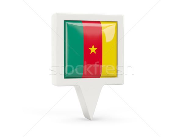 Placu banderą ikona Kamerun odizolowany biały Zdjęcia stock © MikhailMishchenko