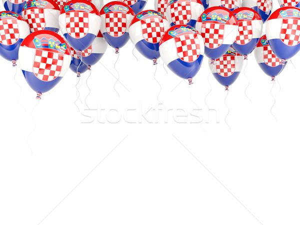 Balon çerçeve bayrak Hırvatistan yalıtılmış beyaz Stok fotoğraf © MikhailMishchenko