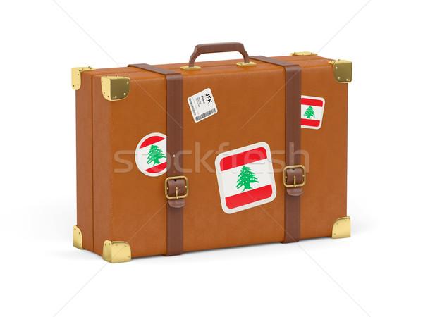 スーツケース フラグ レバノン 旅行 孤立した 白 ストックフォト © MikhailMishchenko