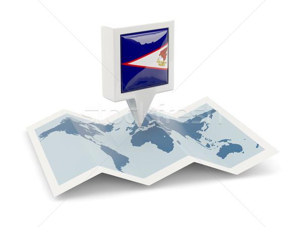 Vierkante pin vlag Amerikaans Samoa kaart reizen Stockfoto © MikhailMishchenko