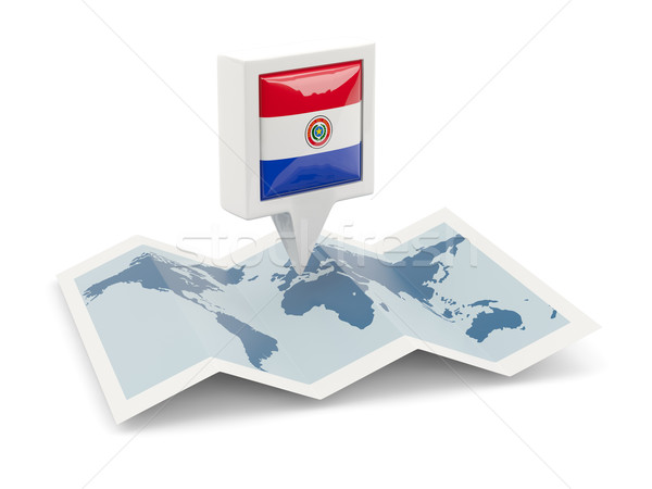 Square pin with flag of paraguay on the map Stock photo © MikhailMishchenko