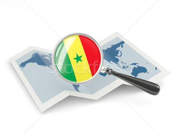 Magnified flag of senegal with map Stock photo © MikhailMishchenko