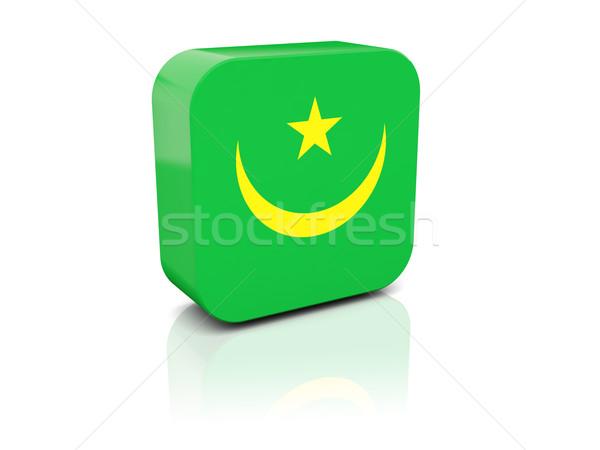 Square icon with flag of mauritania Stock photo © MikhailMishchenko