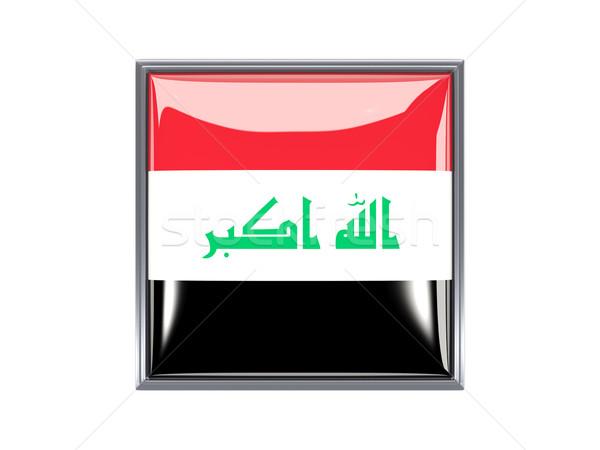 Praça ícone bandeira Iraque metal quadro Foto stock © MikhailMishchenko