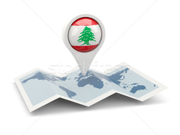 Pin bandeira Líbano mapa viajar branco Foto stock © MikhailMishchenko