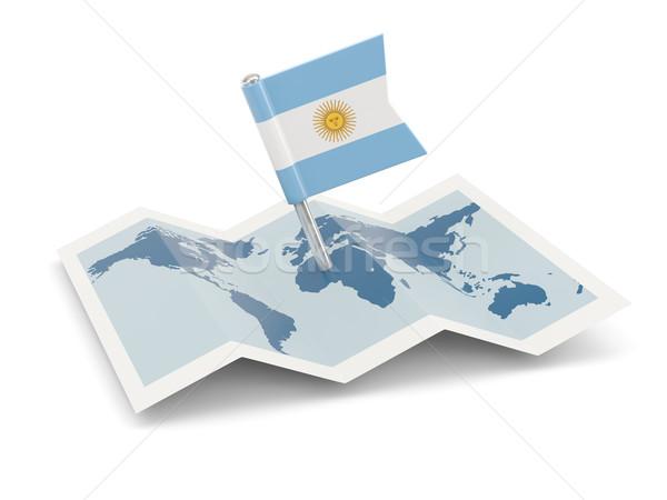 地図 フラグ アルゼンチン 孤立した 白 ストックフォト © MikhailMishchenko