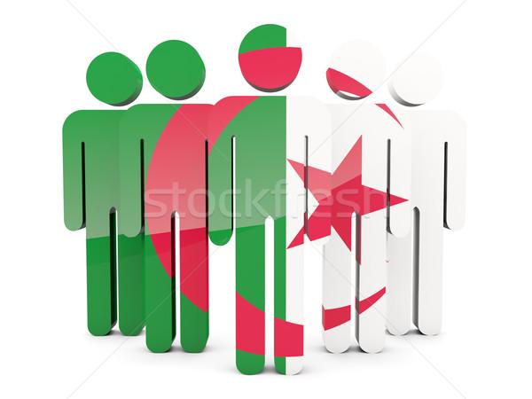 Pessoas bandeira Argélia isolado branco multidão Foto stock © MikhailMishchenko