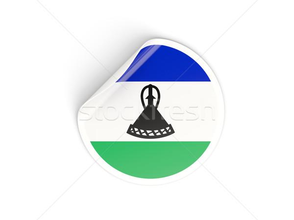 Vignette pavillon Lesotho isolé blanche Voyage Photo stock © MikhailMishchenko