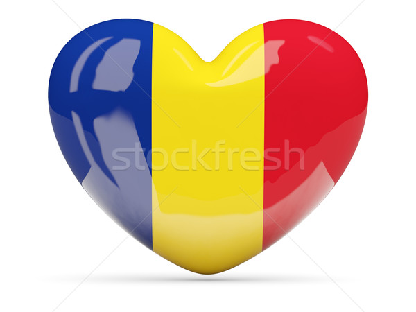 Serca ikona banderą Rumunia odizolowany Zdjęcia stock © MikhailMishchenko