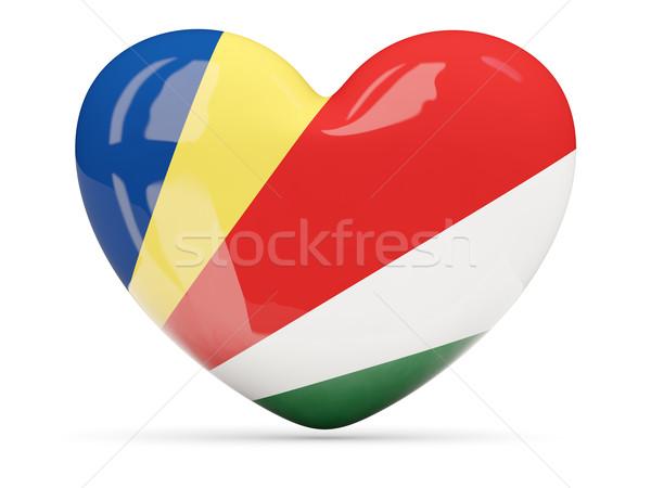 Szív alakú ikon zászló Seychelle-szigetek izolált Stock fotó © MikhailMishchenko