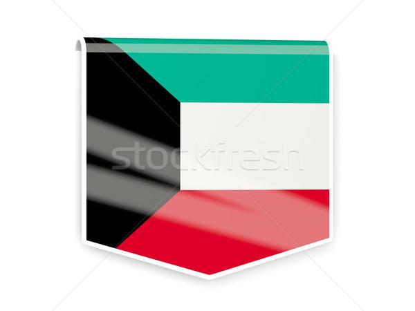 Bandera etiqueta Kuwait aislado blanco signo Foto stock © MikhailMishchenko
