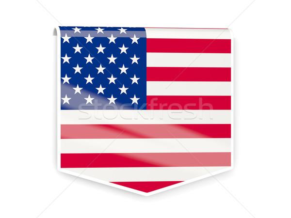 Zászló címke Egyesült Államok Amerika izolált fehér Stock fotó © MikhailMishchenko