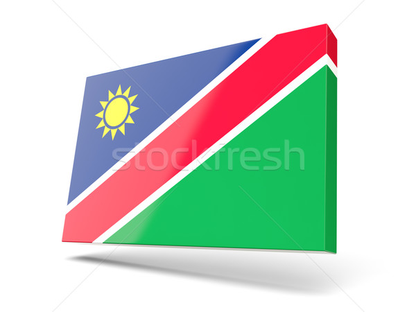 Praça ícone bandeira Namíbia isolado branco Foto stock © MikhailMishchenko