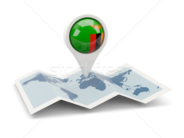 Pin флаг Замбия карта путешествия белый Сток-фото © MikhailMishchenko