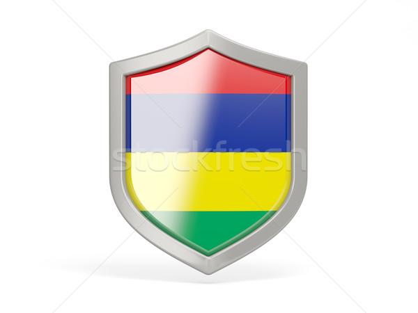 щит икона флаг Маврикий изолированный белый Сток-фото © MikhailMishchenko