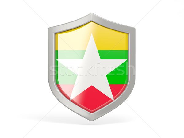 Pajzs ikon zászló Myanmar izolált fehér Stock fotó © MikhailMishchenko