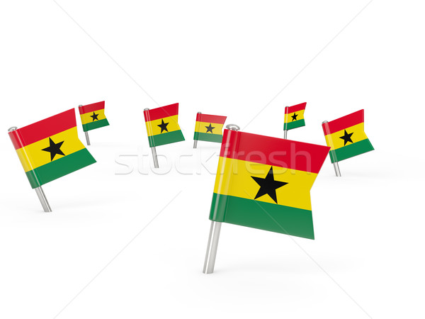 Square pins with flag of ghana Stock photo © MikhailMishchenko