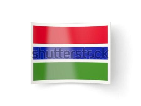 Icône pavillon Gambie isolé blanche pays Photo stock © MikhailMishchenko