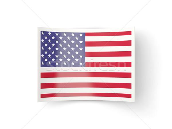икона флаг Соединенные Штаты Америки изолированный белый Сток-фото © MikhailMishchenko