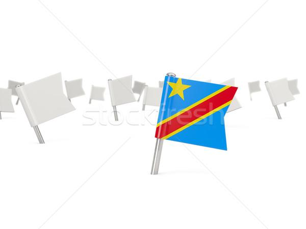 Platz Pin Flagge demokratischen Republik Kongo Stock foto © MikhailMishchenko