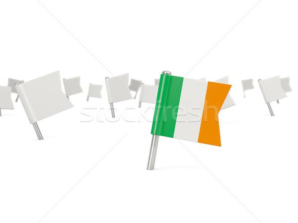 Cuadrados pin bandera Irlanda aislado blanco Foto stock © MikhailMishchenko