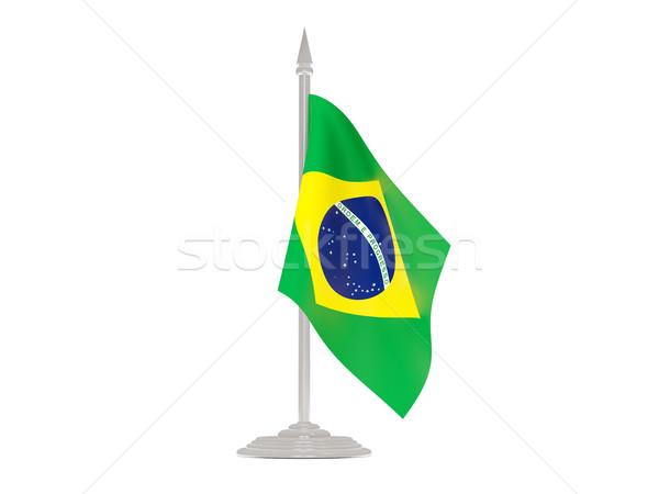 Vlag Brazilië vlaggestok 3d render geïsoleerd witte Stockfoto © MikhailMishchenko