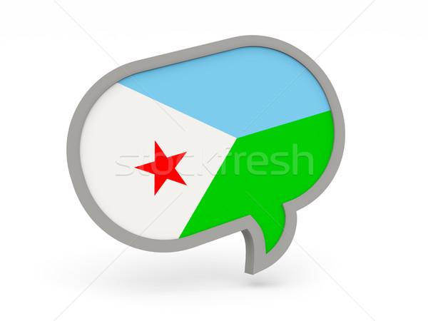 Chat ikona banderą Dżibuti odizolowany biały Zdjęcia stock © MikhailMishchenko